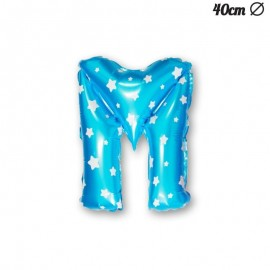 Ballon Lettre M Bleu Avec Etoiles 40 cm