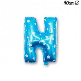Ballon Lettre N Bleu Avec Etoiles 40 cm