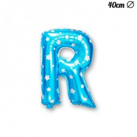Ballon Lettre R Bleu Avec Etoiles 40 cm