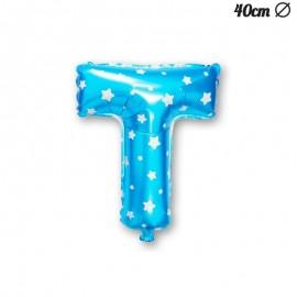 Ballon Lettre T Bleu Avec Etoiles 40 cm