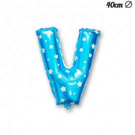 Ballon Lettre V Bleu Avec Etoiles 40 cm