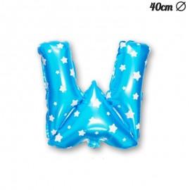 Ballon Lettre W Bleu Avec Etoiles 40 cm