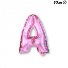 Ballon Lettre A Rose Avec Coeurs 40 cm