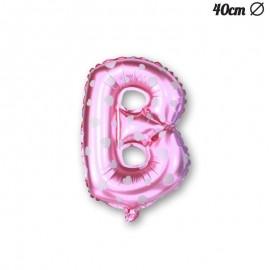 Ballon Lettre B Rose Avec Coeurs 40 cm