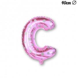 Ballon Lettre C Rose Avec Coeurs 40 cm