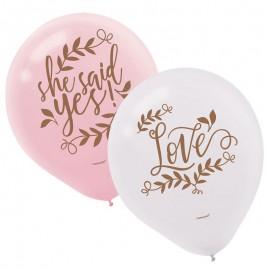 6 Ballons en Latex Love & Leaves 28cm