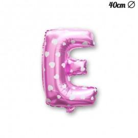 Ballon Lettre E Rose Avec Coeurs 40 cm