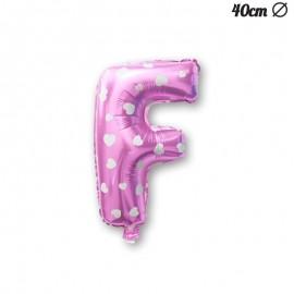 Ballon Lettre F Rose Avec Coeurs 40 cm