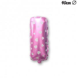 Ballon Lettre I Rose Avec Coeurs 40 cm