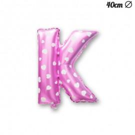Ballon Lettre K Rose Avec Coeurs 40 cm