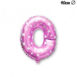 Ballon Lettre O Rose Avec Coeurs 40 cm