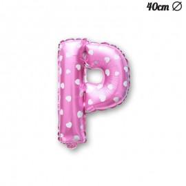 Ballon Lettre P Rose Avec Coeurs 40 cm