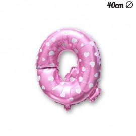 Ballon Lettre Q Rose Avec Coeurs 40 cm