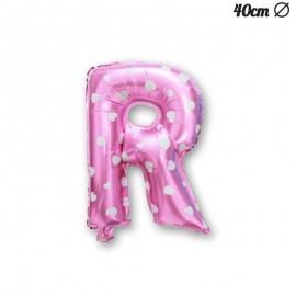 Ballon Lettre R Rose Avec Coeurs 40 cm