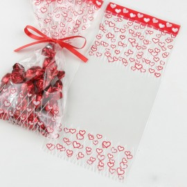 100 Sachets Coeur Rouge 12 x 25 cm