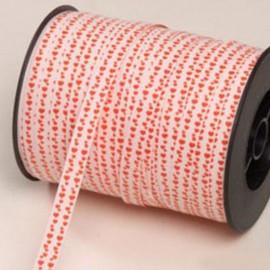 Ruban Blanc et Rouge avec Petit Coeurs 10 mm x 250 m