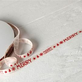 Ruban de Coton Ivoire Imprimé Rouge Merry Christmas 10mmx50mts