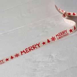 Ruban de Coton Ivoire Imprimé Rouge Merry Christmas 15mmx50mts