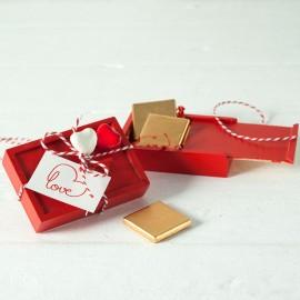 Coffret en Bois 4 Chocolats Saint-Valentin Double Coeur
