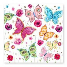 20 Serviettes Avec Papillons 33 cm