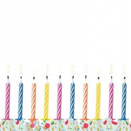 10 Bougies Rayées Pour Anniversaire