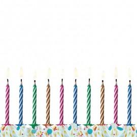 10 Bougies Magiques Rayées
