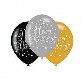 6 Ballons Happy Birthday Élegant Doré en Latex 28 cm