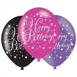 6 Ballons Happy Birthday Élegant Rose en Latex 28 cm