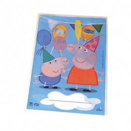 10 Sachets Peppa Pig Rectangulaires 17 x 25 cm
