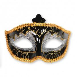 Masque Noir et Doré Pour Fêtes