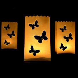 10 Sacs Porte-Bougies Papillons 26 cm