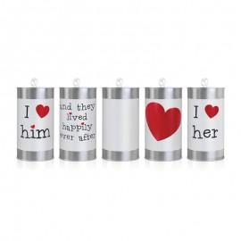5 Canettes Argentées Pour Voiture de Mariage 14 x 7 cm
