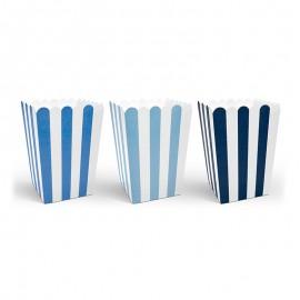 6 Boîtes de Pop-Corn à Rayures Bleues et Blanches 12,5 cm