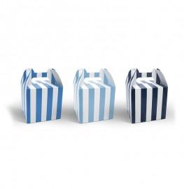 6 Boîtes Pour Sucreries à Rayures Bleues avec Anses 12,5 cm