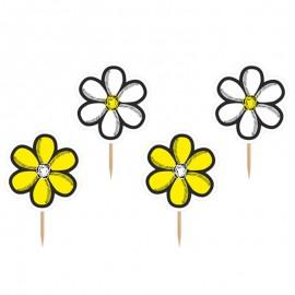6 Bâtonnets Avec Fleurs Jaunes et Blanches