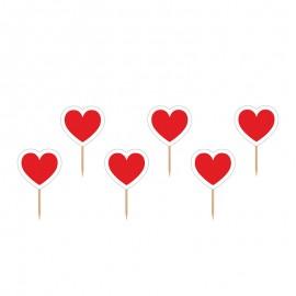 6 Bâtonnets avec Coeurs Rouges