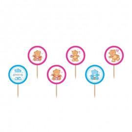 6 Bâtonnets Roses et Bleus avec Oursons