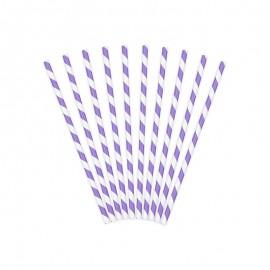 10 Pailles en Papier Avec Rayures