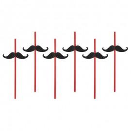 6 Pailles Avec Moustache 24 cm
