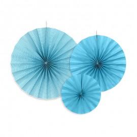 3 Rosettes Bleues En Papier Modèles Variés