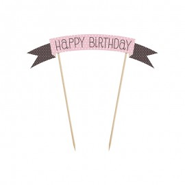 Mini Pancarte Pour Gâteau Happy Birthday 19 cm