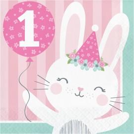 "16 Serviettes 1 an ""Birthday"" Lapinou 33 cm"
