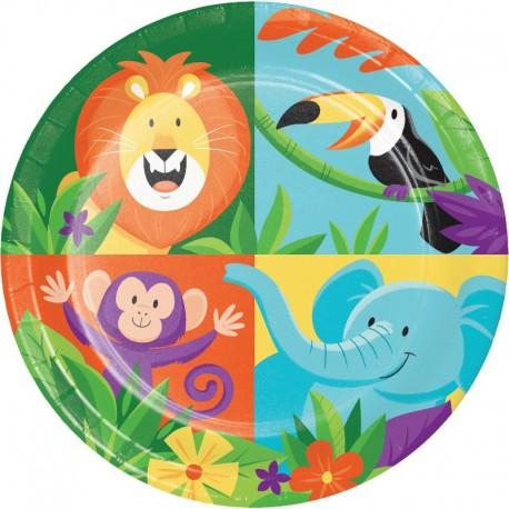 8 Assiettes Animaux de la Jungle 18 cm