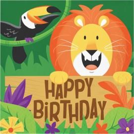 16 Serviettes Animaux de la Jungle Happy Birthday 33 cm