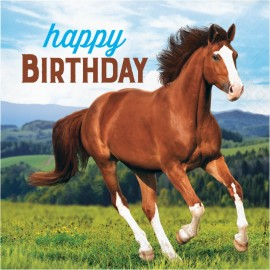16 Serviettes Cheval et Poney Happy Birthday 33 cm