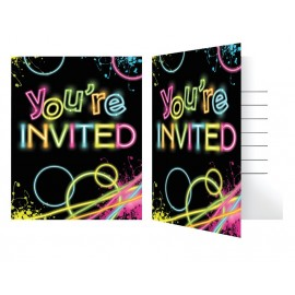 8 Invitations Glow Party