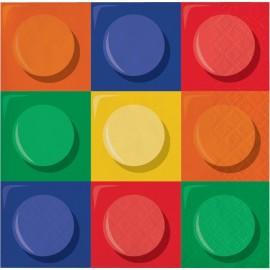 16 Serviettes Lego 25 cm