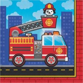 16 Serviettes Pompier 33 cm