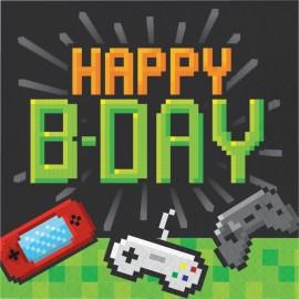 """16 Serviettes Jeux Vidéos """"Happy Birthday"""" 33 cm"""