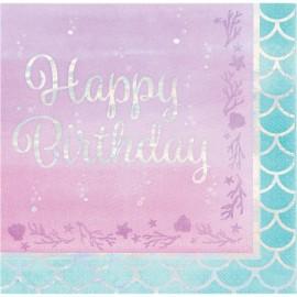 "16 Serviettes Iridescentes ""Happy Birthday"" Sirène 33 cm"